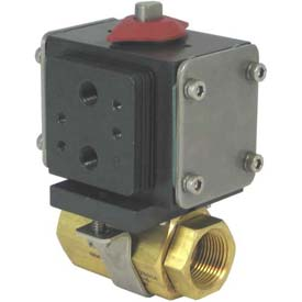 Gemini Valve® Brass Ball Valve W/500 Series Double-Acting Pneumatic Actuator, 1-1/2""