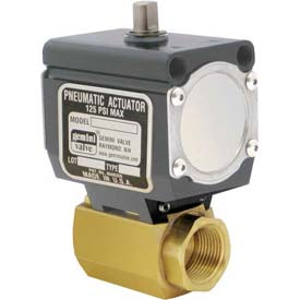 Gemini Valve® High Duty Cycle Brass Ball Valve, Double-Acting Pneumatic Actuator, 1/2""