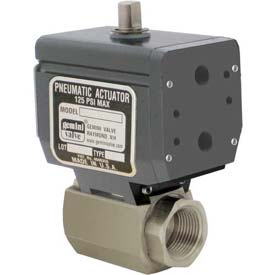 Gemini Valve® High Duty Cycle S/S Ball Valve, Double-Acting Pneumatic Actuator, 3/4""