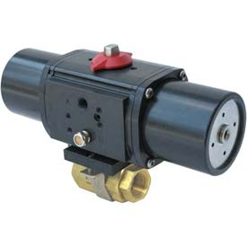 Gemini Valve® Brass Ball Valve W/500 Series Spring-Return Pneumatic Actuator, 1""