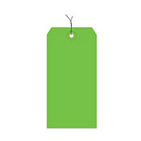 "#4 Light Green Wired Tag Pack 4-1/4"" x 2-1/8"" - 1000 Pack"