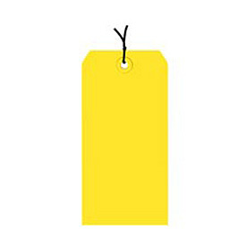 "#4 Yellow Strung Tag Pack 4-1/4"" x 2-1/8"" - 1000 Pack"