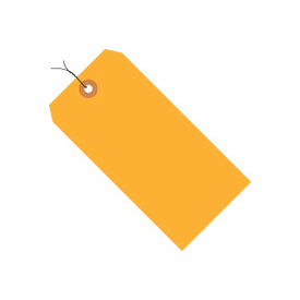 "#2 Orange Fluorescent Wired Tag Pack 3-1/4"" x 1-5/8"" - 1000 Pack"