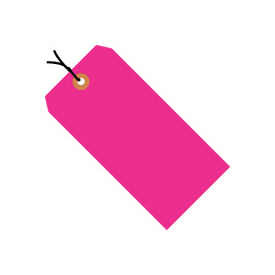 "#3 Pink Fluorescent Strung Tag Pack 3-3/4"" x 1-5/8"" - 1000 Pack"