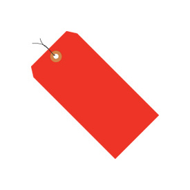 "#1 Red Fluorescent Wired Tag Pack 2-3/4"" x 1-3/8"" - 1000 Pack"