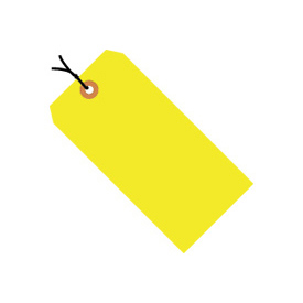 "#2 Yellow Fluorescent Strung Tag Pack 3-1/4"" x 1-5/8"" - 1000 Pack"