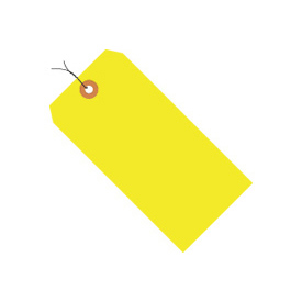 "#1 Yellow Fluorescent Wired Tag Pack 2-3/4"" x 1-3/8"" - 1000 Pack"