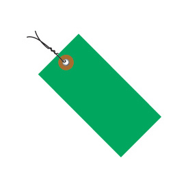"#5 Wired Green Tyvek Tag 4-3/4"" x 2-3/8"" - 100 Pack"