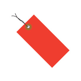 "#5 Wired Red Tyvek Tag 4-3/4"" x 2-3/8"" - 100 Pack"