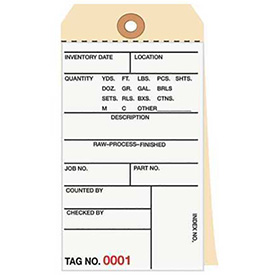 Inventory Tag 3 Part Carbonless 1000 - 1499 - 500 Pack