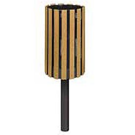 """Rubbermaid® H12IG Towne Mount Receptacle with In-Ground Post, Cedar, 34 Gallon, 18""""Dia x 41""""H"""