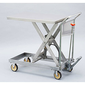 "HAMACO Stainless Steel Mobile Scissor Lift Table HLH-250SUS 31-1/2""L x 19-11/16""W 551 Lb. Cap. by"