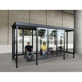 """Smoking Shelter 6-3WSF-CA, 4-Sided W/L & R Open Front, 15'L X 7'6""""W, Flat Roof, Clear by"""