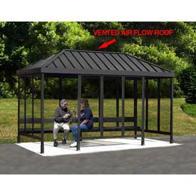 """Smoking Shelter 6-3WSVR-CA, 4-Sided, L & R Open FR, 15'L X 7'6""""W, Vented Standing Seam Roof, Clear by"""