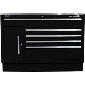 "Homak 60"" CTS Small Door 5 Drawer Base - Black"