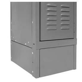 "Hallowell KCSB12HG Steel Locker Accessory, Closed Side Base 12""D x 6""H  725 Gray"