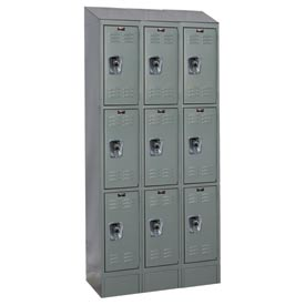 Hallowell URB3228-3ASB-HG Ready-Built II Locker Triple Tier 3 Wide - 12x12x27-5/16 Gray