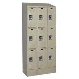 Hallowell URB3228-3ASB-PT Ready-Built II Locker Triple Tier 3 Wide - 12x12x27-5/16 Parchment