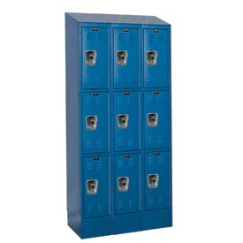 Hallowell URB3288-3ASB-MB Ready-Built II Locker Triple Tier 3 Wide - 12x18x28 Blue