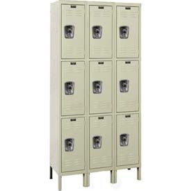 "Hallowell URB3288-3A-PT ReadyBuilt Locker, 36""W x 18""D x 26""H, Parchment, Triple Tier, 3 Wide"