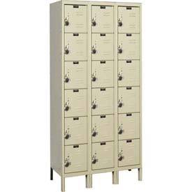 "Hallowell URB3288-6A-PT ReadyBuilt Locker, 36""W x 18""D x 13""H, Parchment, 6 Tier, 3 Wide"