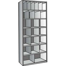 "Hallowell A5534-12HG Hi-Tech Parts Bin Unit 36""W x 12""D x 87""H Gray Add-on 24 Bins"