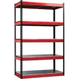 "Hallowell FKR362478-5S-E-BR-HT Fort Knox Rivetwell Shelving Unit w/ EZ Deck, 36""W x 24""D x 78""H"
