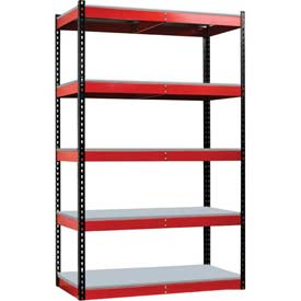 "Hallowell FKR362478-5S-F-BR-HT Fort Knox Rivetwell Shelving Unit w/ FeatherDeck, 36""W x 24""D x 78""H,"