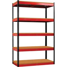 Hallowell FKR482478-5S-W-BR-HT Fort Knox Rivetwell Shelving Unitw/ Particle Board Deck, 48x24x78