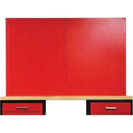 "Fort Knox Pegboard, 72""W x 0.75""D x 44.25""H, Red"