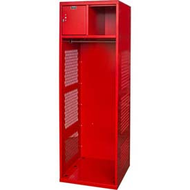 Hallowell KSBN482-1C-RR Gear Locker, 24x18x72, w/Top Shelf, Security Box, Relay Red, Unassembled