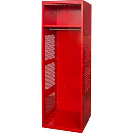 "Hallowell KSNN482-1C-RR Gear Locker, 24""W x 18""D x 72""H, w/Top Shelf, Relay Red, Unassembled"