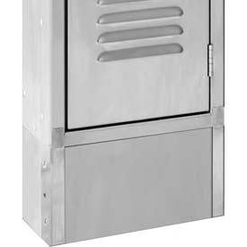 "Hallowell PPFB1806S Stainless Steel Closed Front Base for 304 Stainless Steel Lockers, 18""W x 6""H"