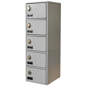 Hallowell UCTL192(30)-5A-PL Tablet/Cell Phone Locker, 9x12x30-1/2, 5 Door-1 Wide, Padlock Hasp, Gray