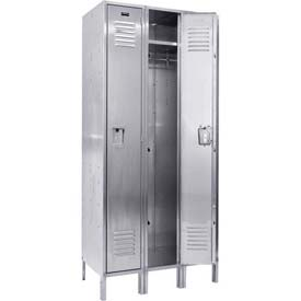 "Hallowell USS3288-1A 304 Stainless Steel Locker, 12""W x 18""D x 78""H, Single Tier, 3 Wide, Assembled"