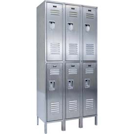"Hallowell USS3288-2A 304 Stainless Steel Locker, 12""W x 18""D x 78""H, Double Tier, 3 Wide, Assembled"