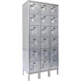 "Hallowell USS3888-6 304 Stainless Steel Locker, 18""W x 18""D x 78""H, Six Tier, 3 Wide, Unassembled"