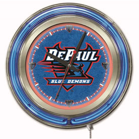 "Buy DePaul University Double Neon Ring 15"" Dia. Logo Clock"
