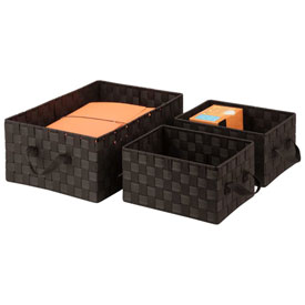 Honey-Can-Do 3-Piece Woven Basket Organizers Espresso by