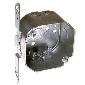 "Hubbell 119 Octagon Box 3-1/2"", 1-1/2"", 1/2"" Side Knockouts, Nmsc Clamps, Stud Bracket - Pkg Qty 25"