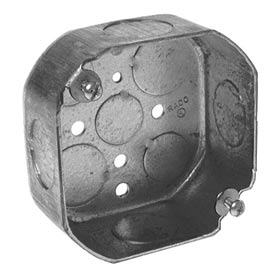 "Hubbell 126 Octagon Box 4"", 1-1/2"" Deep, 3/4"" Side Knockouts - Pkg Qty 50"