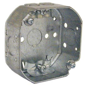 "Hubbell 145 Octagon Box 4"", 1-1/2"" Deep, 1/2"" Side Knockouts, Nmsc Clamps - Pkg Qty 50"