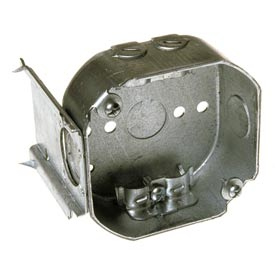 "Hubbell 160 Octagon Box 4"", 1-1/2"" Deep, 1/2"" Side Knockouts, Nmsc Clamps, Stud Bracket - Pkg Qty 50"