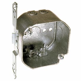 "Hubbell 177 Octagon Box 4"", 2-1/8""D, 1/2"" Side Knockouts,Nmsc Clamps, Stud Bracket - Pkg Qty 25"