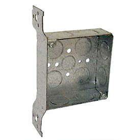 "Hubbell 199 Square Box 4"", 1-1/2"" Deep, 3/4"" Side Knockouts, Stud Bracket, Welded - Pkg Qty 25"