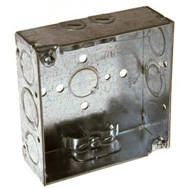 "Hubbell 211 Square Box 4"", 1-1/2"" Deep, 1/2"" & 3/4"" Side Knockouts, Nmsc Clamps, Welded - Pkg Qty 50"