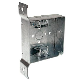 "Hubbell 218 Square Box 4"", 1-1/2""D, 1/2"" & 3/4"" Side Knockout, Mc/Bx Clamps, Stud Bracket - Pkg Qty 25"