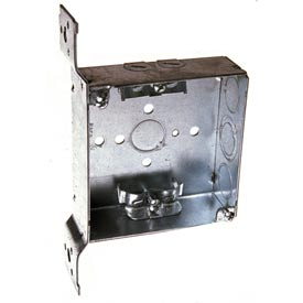 "Hubbell 223 Square Box 4"", 1-1/2""D, 1/2"" & 3/4"" Side Knockouts, Nmsc Clamps, Stud Bracket - Pkg Qty 25"