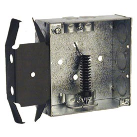 "Hubbell 228 Square Box 4"", 1-1/2""D, 1/2"" & 3/4"" Side Knockouts, Nmsc Clamps, Stud Bracket - Pkg Qty 25"