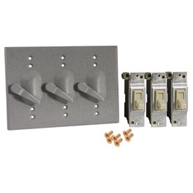 Hubbell 5126-0 Three Gang Box Weatherproof Mount Cover (3) Single Pole Switches